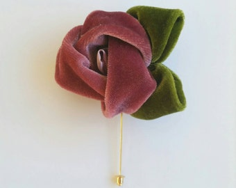 Lapel Pin Rose Color Flower and Green Leafs in Velvet