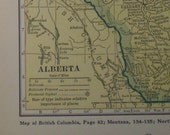 Alberta, Province, Canada - 1929  Map - lovely pastel yellow & green colors