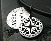 Mans Compass Textured Charm Necklace - Mens Personalized Necklace - Mans Hand Stamped Necklace - Coordinates Necklace for Men