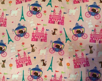 A Beautiful M'Liss Sweet Dreams With Castles And Carriages Cotton Fabric  By The Yard-Free US Shipping