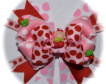 M2MG Cherry Cute Girl Pink Red Polka Dot Custom Boutique toddlers girls Polymer Clay Hair Bow OOAK