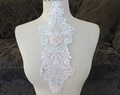Cute embroidered and beaded organza flower applique  white color 1 pieces listing 13 inches long 5 1/2 inches at the widest part