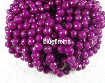 32 pcs 12mm faceted round jade beads
