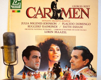 """ON SALE Carmen (with Placido Domingo) Vinyl Record 1980s Stage and Screen Film Soundtrack Georges Bizet Music""""Carmen (Excerpts)""""(1984 FRENCH"""