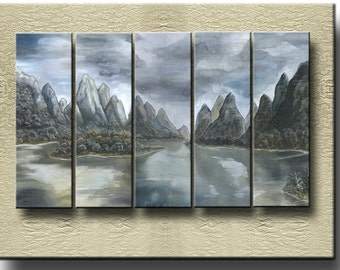 Monuments of Guilin - Fine Art Prints on heavy Cotton Canvas on 5 Panels - unframed