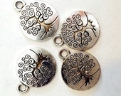 25 TierraCast Tree of Life Charms - 15mm Antique Silver Tree - Drop Charms
