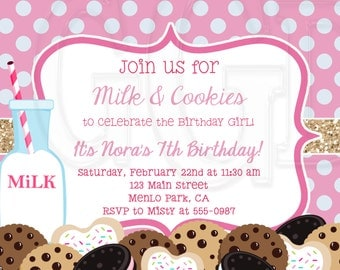 Milk and Cookies Invitation Birthday party -Digital File