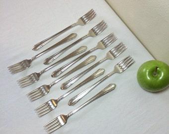 Vintage Silverplate Flatware Rosalind 1938 Rogers Grille Forks 10