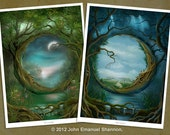 Art Print Set - Day and Night & Night and Day - A4 (8.27x11.69) inch Prints by John Emanuel Shannon