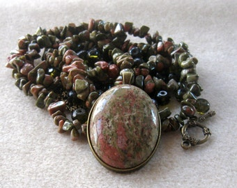 Unakite Cabochon, DIY Jewelry Kit, Bezel Setting, Gemstone Chip Beads, Glass Bead, Craft Supply, Jewelry Making Beads, Bead Supply, Bead Kit