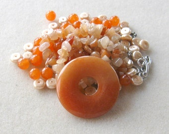 Red Aventurine, Jade Beads,  Gemstone Donut Pendant, Glass Pearls, Necklace Kit, Bead Kit, DIY Jewelry Kit, Craft Supplies,Jewelry Design