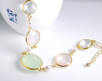 Gemstone bracelet, semi-precious gemstone chalcedony, natural rose quartz, jewelry gift, personalized, monogram