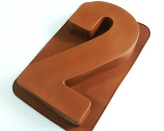 Large Number TWO (2) Silicone Bakeware Mould for Novelty Birthday Cake Pan(like tin) - 12""