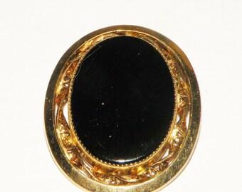 Catamore Gold Filled Brooch 12k gold filled Onyx