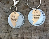 NEW- Mr Right and Mrs Always Right Matching His and Hers Keychains
