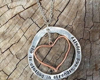 NEW-Large Handstamped Pewter Washer with Pure Copper Heart