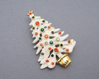 Eisenberg Ice Christmas Tree Brooch Rhinestone Jewelry P6214