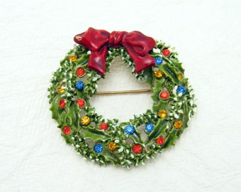 Vintage Christmas Wreath Brooch Holiday Jewelry H6511