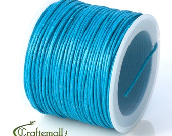 SALE 50% OFF: Prussian blue waxed cotton cord - 1mm waxed cotton cord - 1 roll (25meters)
