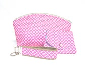 Extra Large Domed Make Up Bag, Key Fob and Gift Card Holder/Wallet