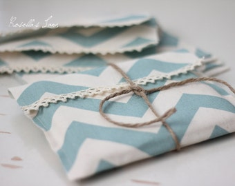 Ready to ship - CD packaging - 10 cotton canvas fabric envelopes - blue chevron CD envelopes-client packaging
