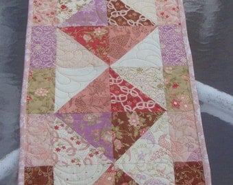 Quilted Table Runner Gypsy Rose Peach Brown Lavender