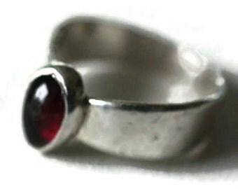 Garnet Silver Ring Size 6.25