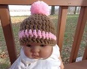 Chunky Beanie in Brown and Pink   for 0-3month Baby Girl or Reborn Doll with Pompom