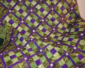 Large Lap Quilt in Shades of Olive Green and Dark Purple