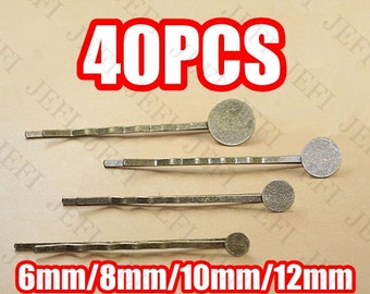 40 Hairpin Base- Brass Antique Bronzed Bobby Pin W/ 6mm/ 8mm/ 10mm/ 12mm Glue-on Round Pad Setting