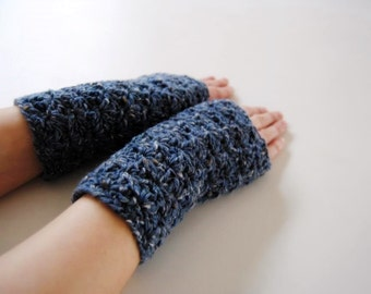 Tweed blue warmers, fingerless mittens, hand-crocheted & ready to ship