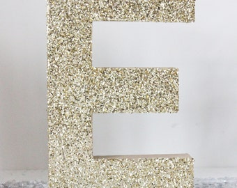 "12"" GLITTER LETTER Glittered Gold Silver Free Standing Custom Paper Mache Initial Decor Diy Signs Monogram Alphabet  Vintage Wedding"