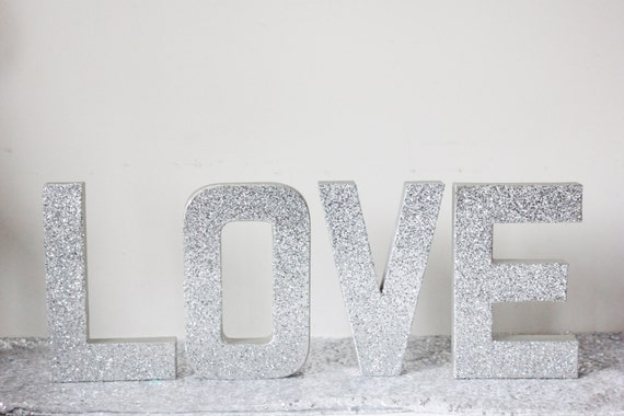 Custom glitter silver sign letters free standing glittered for Silver letters freestanding