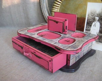 Super Shabby Desk Organizer in Pink Melon / Dresser Valet in Pink Melon / Cottage Chic Unique Vanity/Jewelry Storage and Organization