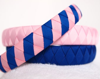 Grosgrain Ribbon Headbands | Pink Blue Headband | Set of 3 Coordinating Ribbon Headbands Handwoven - Pink and Blue