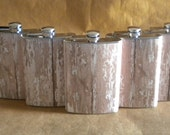 Groomsmen Gift Set of 5 Old White-Washed Wood Looking Print Rustic Country Western Stainelss Steel 8 oz. Flask KR2D 6191