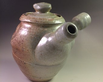 Brown and Celadon Blue-Green Wood and Salt-Fired Teapot