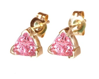pink  sapphire earrings  14k yellow gold