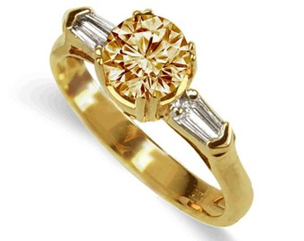 champagne  diamond ring  18k yellow gold