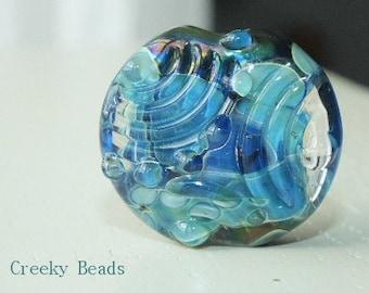 Handmade Lampwork Focal Textured lentil bead Creeky Beads SRA