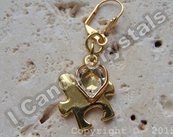 Gold Autism Earrings Puzzle Piece with Swarovski Heart Crystal