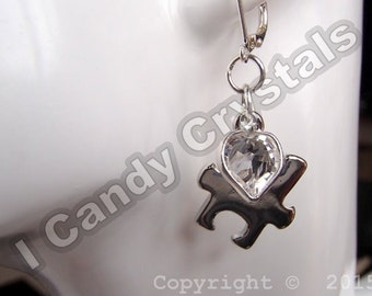 Autism Earrings Puzzle Piece with Swarovski Heart Crystal