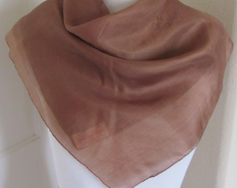 """Lovely Vintage Solid Brown  Silk Scarf - 22"""" Inch Square"""