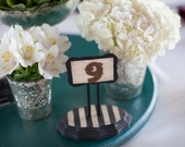 Unique Black and White Wooden Table Numbers