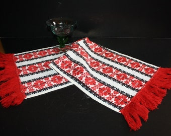Folk Art Hungarian Table Runner Hand Woven Embroidered