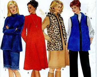 Maternity Vest, Pants, Skirt, Knit Dress, Hooded Tunic or Tunic Sewing Pattern - Simplicity 9396 - Sizes 6, 8, 10, 12 - Uncut