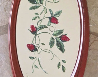 Oval Wall Mirror Hand Painted Red Roses Red Frame Hand Painted by Ollie's Fine Things