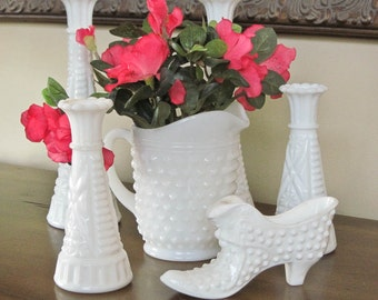 50% Off  Milk Glass Collection, Bud Vases, Mini Pitcher, Hobnail Shoe, Six Pieces