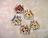 Hand Painted Birdhouse Cottage Refrigerator Magnets Garden Home OFG Decor Country Kitchen and Dining Tole Painting Folk Art Fridge Accessory