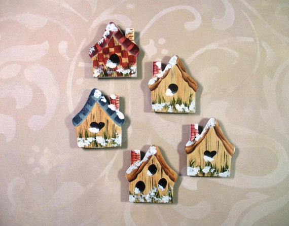 Hand Painted Birdhouse Cottage Refrigerator Magnets Garden